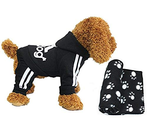 YAAGLE Pet Warm Sweater Hoodie Coat Sweatshirt Clothes Costume Apparel for Dog Puppy Cat,Black+Blanket -