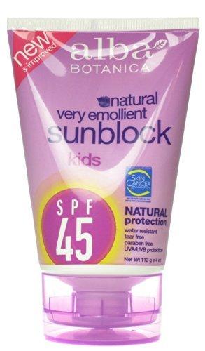 Alba Botanica SPF 45 Sunblock for Kids, 4 Ounce -- 2 per case. by Alba Botanica