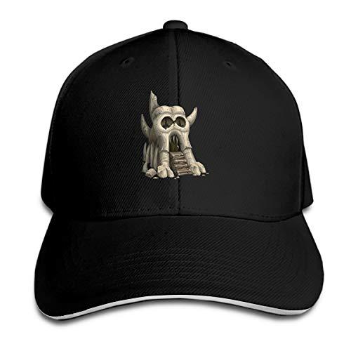 Customized Unisex Trucker Baseball Cap Adjustable Skull Greyskull Castle Gatehouse Halloween Ghost Peaked Sandwich Hat]()