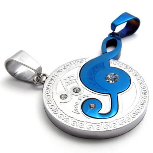 KONOV 2pcs Mens Womens Couples Music Stainless Steel Pendant Love Necklace, 18 & 22 inch Chain, Blue