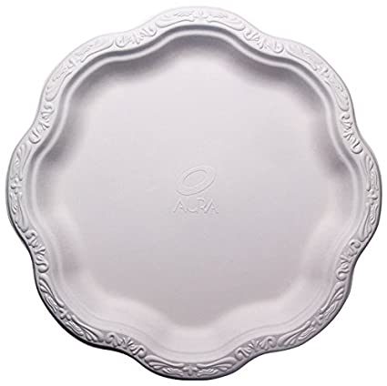 [50 COUNT] 10\u0026quot; inch Disposable Floral Large Premium White Plates Acanthus Collection Natural  sc 1 st  Amazon.com & Amazon.com: [50 COUNT] 10\