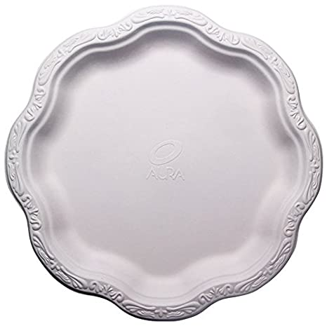 [100 COUNT] 10u0026quot; inch Disposable Floral Large Premium White Plates Acanthus Collection Natural  sc 1 st  Amazon.com & Amazon.com: [100 COUNT] 10
