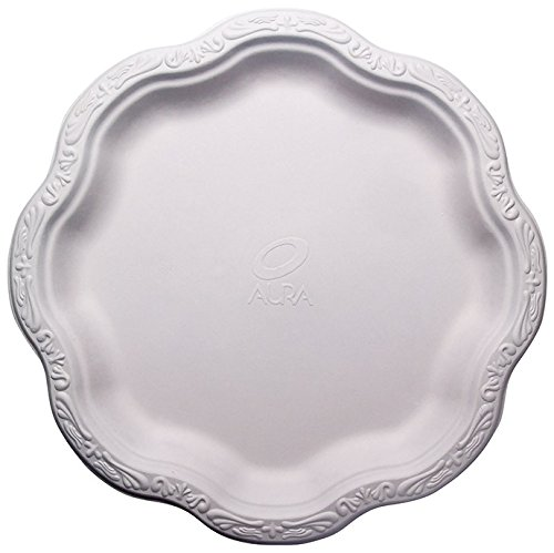 "[50 COUNT] 10"" inch Disposable Floral Large Premium White Plates Acanthus Collection Natural Sugarcane Bamboo Fibers Bagasse 100% By-Products Eco Friendly Environmental Plastic Paper Plate Alternative"