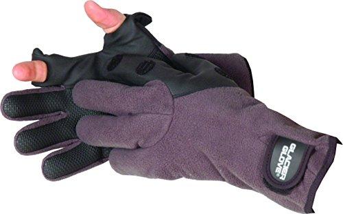 - Glacier Glove Windproof Fleece Hybrid Slit Finger Glove, Gray/Black, Medium