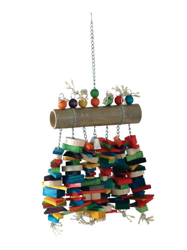 """(Caitec Bamboo Log Bird Chew Toy, Colorful & Entertaining, Great for Chewing, 27"""" x 16"""" x 4"""", X-Large)"""