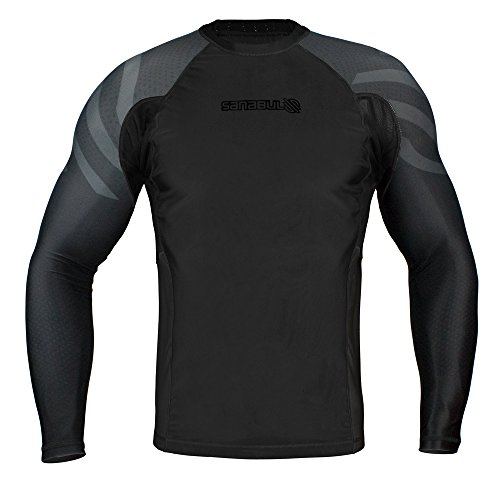 Sanabul Essentials Long Sleeve Compression Base Layer Rash Guard (Large, All Black)