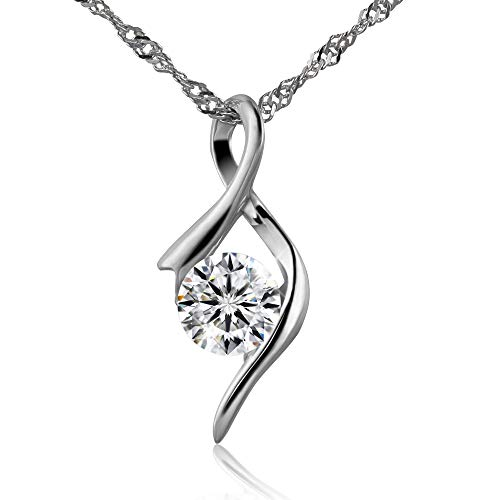 - Bijours Pendant Necklace   Love's Eye 5A Zircon Necklace   S925 Sterling Silver + Austrian Crystal   Gift of Valentine's Day Birthday Gift for Loved