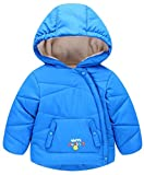 Pandapang Girls Soft Hooded Printed Oblique Button Fleece Down Jackets Jewelry Blue 3T