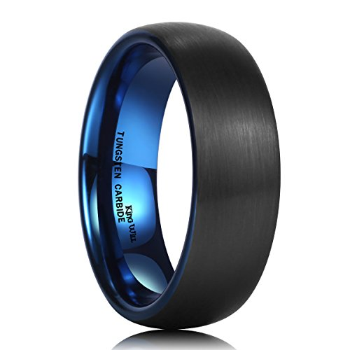 King Will Duo 7mm Blue and Black Dome Tungsten Carbide Ring Wedding Band High Polished Comfort Fit6 -