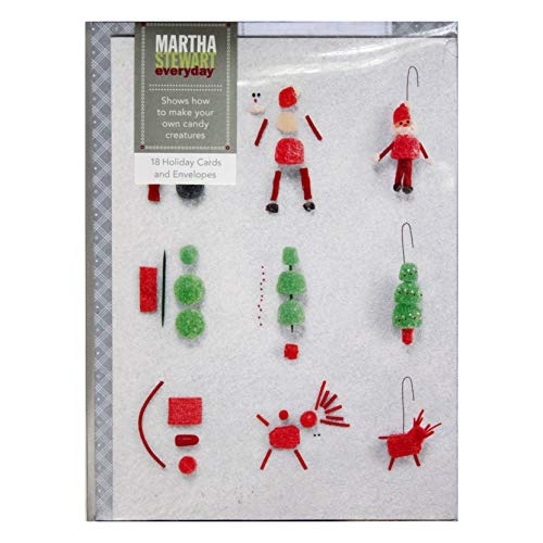 Martha Stewart Everyday 18pc Set Candy Creatures Design Holiday/Christmas Greeting Cards With Gray & White Pattern Envelopes 5x7-3 Designs