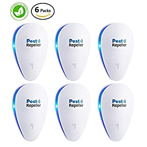 Ultrasonic Pest Control Repeller [Spring Special]- Electronic Mouse Repellent Plug In for Insect - Mice, Mouse, Bed Bugs, Spiders, Mosquitoes, Roaches, Ants - No more Trap, Spray & Bait (6 Packs)