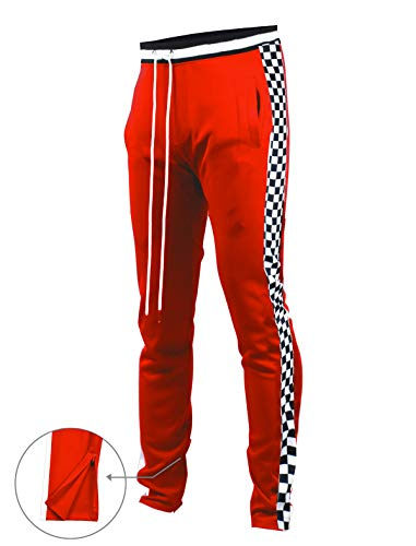 SCREENSHOTBRAND-P11854 Mens Hip Hop Premium Slim Fit Track Pants - Athletic Jogger Bottom with Side Checker Taping-Red-Large from SCREENSHOT