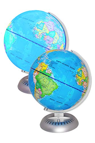 Illuminated World Globe Lights by KinderBerries - 8 Globe of The World with Stand Night Lights for Kids - Built-in LED Light Earth Globe with Easy to Read Labels for Continents, Countries, Capitals