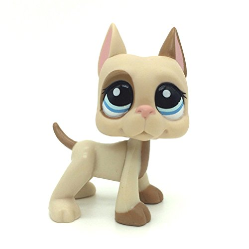 - kenven Littlest Pet Shop LPS Great Dane Dog Puppy Pink Ear Brown Patches Spotted #1647