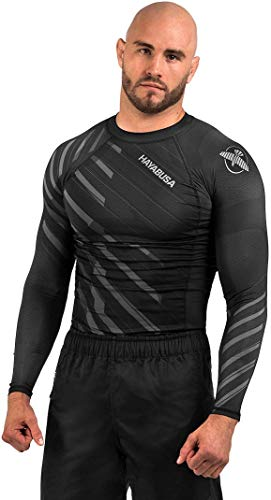 Hayabusa Metaru Rash Guard for Men | Long Sleeve | Brazilian Jiu Jitsu | Grey | Medium