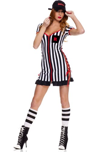 Ref Costume Amazon (MUSIC LEGS Women's Lady Ref, Black/White, Medium/Large)