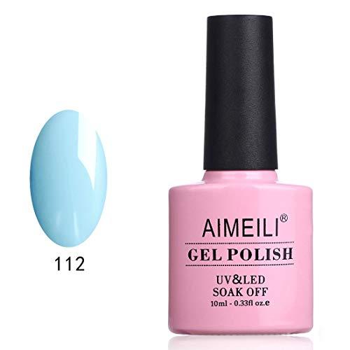 AIMEILI Soak Off UV LED Gel Nail Polish - Ixia Viridiflora (112) 10ml (Best Baby Blue Nail Polish)
