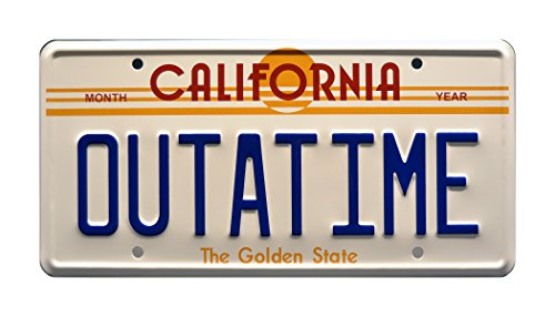 Celebrity Machines Back to The Future | Delorean | Outatime | Metal Stamped Vanity Prop License -