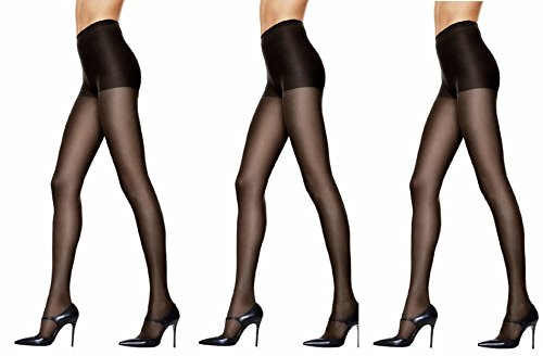Smoother Sheer Control Top Pantyhose - Hanes Womens Set of 3 Silk Reflections Control Top Sheer Toe Pantyhose CD, Jet