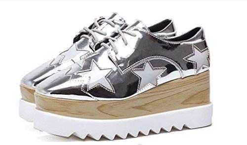 Casual unique Femmes épaisses silver Chaussures Loose Chaussures Femmes Chaussures 39 talon XDGG 2017 vd4wx8tqv