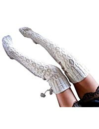 Women Cable Knit Extra Long Boot Socks Over Knee Thigh Stocking
