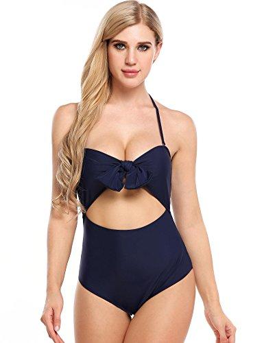 Da Up Bikini 2 Puro Colore Bretelle Swift Pezzi Farfallino Alta Sexy Push Vita Bagno Blu Navy Donna Costume XZdgUdHxn