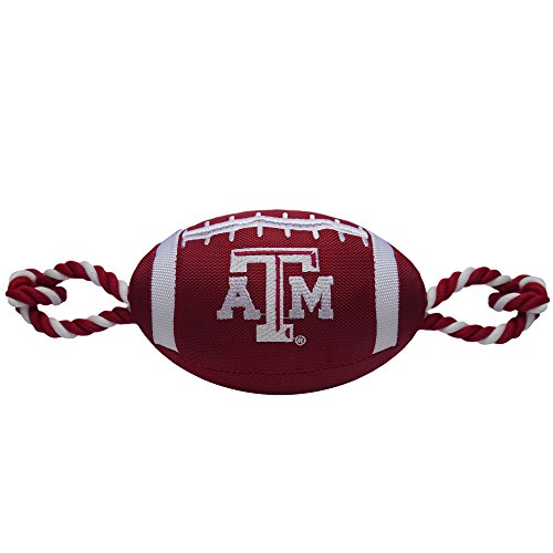 Pets First NCAA Texas A&M Aggies Football Dog Toy, Tough Quality Nylon Materials, Strong Pull Ropes, Inner Squeaker, Collegiate Team Color