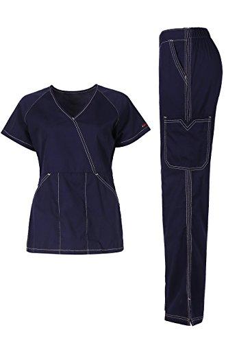 MedPro Women's Medical Scrub Set (Top & Bottom) Navy XL (5666) by MedPro