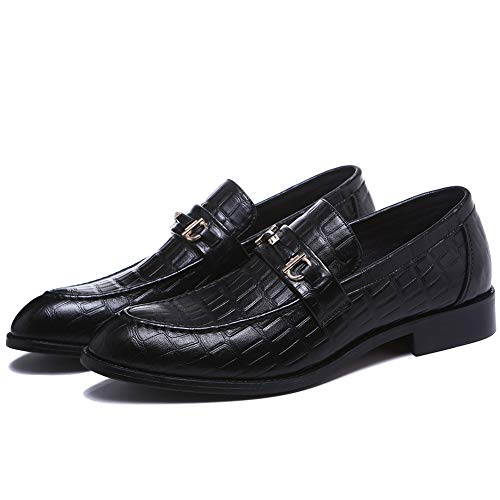 (NXY Black Loafer for Men丨 Men's Casual Leather White Shoes for Men Oxford Classic Modern Formal Business Comfortable Black Loafer Shoes 8)