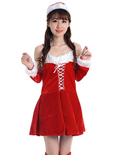 [YFFaye Women's Sweet Christmas Party Fun Dress Set] (Irish Dancing Solo Costumes)