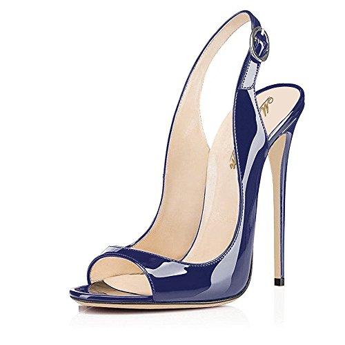 Shoes Slingback Leather (Modemoven Women's Blue Patent Leather Pumps,Peep Toe Heels,Slingback Sandals,Evening Shoes,Cute Stilettos - 7.5 M US)