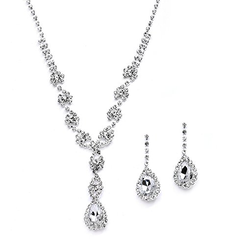 Mariell Sparkling Clear Rhinestone Necklace and Earrings Set for Proms, Bridesmaid's Gifts and Weddings