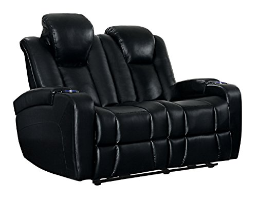 Homelegance Madoc Modern Power Double Reclining Loveseat Leather Gel Match with Dual Cup Holders, Black