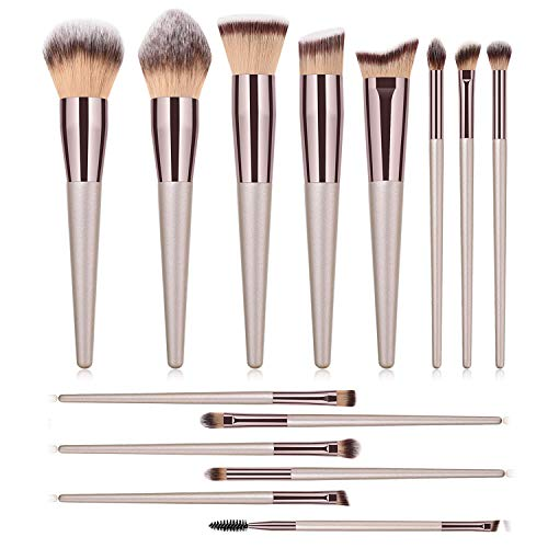 Makeup Brushes Set 14Pcs Professional Kabuki Brush set Premium Synthetic Brush For Blush Powder Foundation Blending Concealers Eyebrow Eyelash Eye shadow Cosmetics Make up Brush Kit
