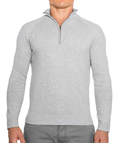 CC Perfect Slim Fit 1/4 Quarter Zip Pullover Men | Durable Mens Sweater with Wash Friendly Fabric | Soft Fitted Sweaters for Men, X-Large, Heather Gray