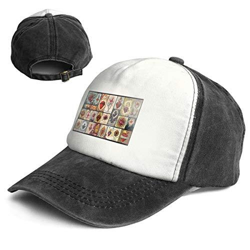 (Classic Sacred Heart Collage Jesus Christ Heart Cross Cover Art Religious Adjustable Adult Trucker Baseball Cap Hat)