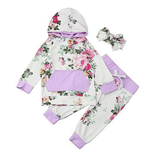 (TEVEQ 3pcs Baby Girls Clothes Set Hoodie Tops+Pants+Headband Outfits)