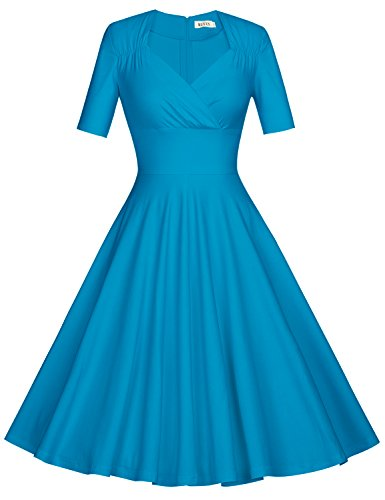 50s Sleeve Skyblue MUXXN Short Women's Dress Swing Vintage Pleated 5gBBqSIxw