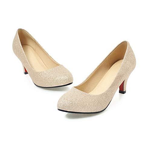 à Femme PU Rond Légeres Couleur Unie Talon Doré Correct Chaussures Cuir AgooLar GMBDB013246 Iqdx5wI