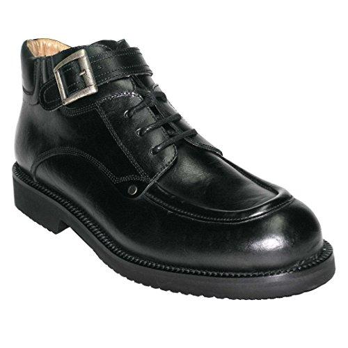 Grandiscarpe scarponcino stringato avec boucle artisanale homme Noir phRuFTa