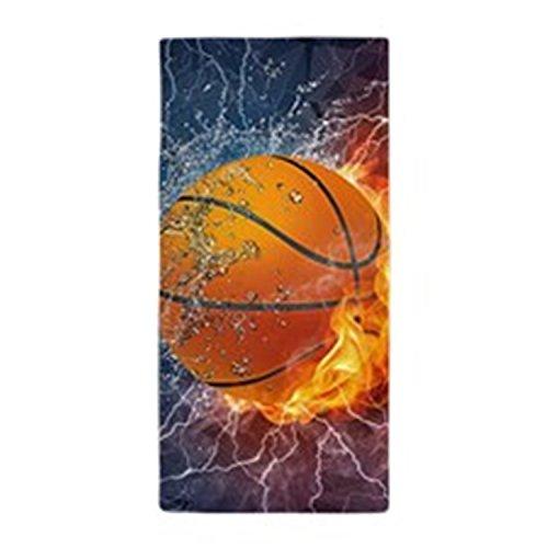 Modern Design Beach Towel Flaming Basketball Ball 27 x 54 Inches