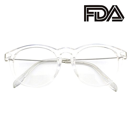 Happy Store CN88 Fashion Keyhole Metal Temple Oval Horn Rimmed Clear Lens Glasses,Transparent