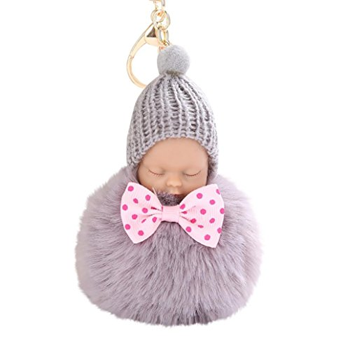 LtrottedJ 8CM Cute Doll Keychain Pendant Women Key Ring Holder Pompoms Key Chains (Grey)