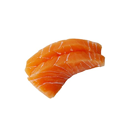 Transcend11 2pcs Fake Sashimi Salmon Faux Simulation Lifelike Meat Food Home House Party Kitchen Cabinet Desk Decoration Hotel Store Display Model Photography Props Kids Play Food Toy (Salmon Sushi)