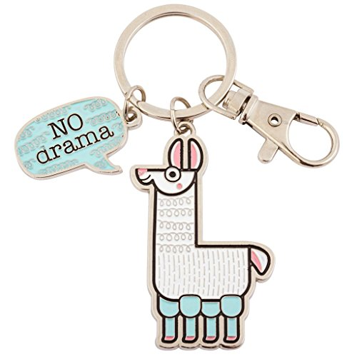 No Drama Llama 2 x 3 Inch Enamel Metal Lobster Claw Key Ring -