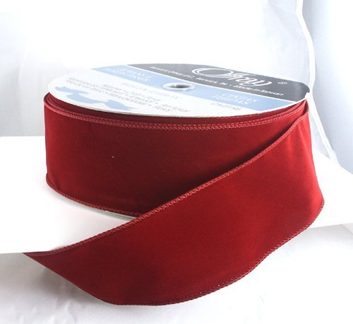 Red Velvet Ribbon - Wired Brick Red Velvet Christmas Ribbon 2 1/2