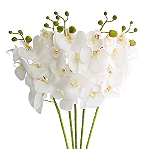 Htmeing 5 Pcs Artificial Butterfly Orchid Flower Fake Flowers Plant Home Wedding Decoration (Snow White)