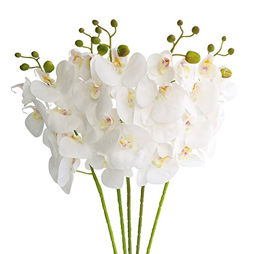 Htmeing 5 Pcs Artificial Butterfly Orchid Flower Fake Flowers Plant Home Wedding Decoration (Snow White) (Hibiscus Flowers White Silk)