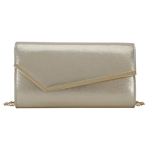 Charming Tailor Shimmering Metallic Clutch Purse Metal Accent Flap Evening Bag for Women (Light Gold)