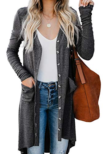 Women's Long Sleeve Button Down Cardigans Solid Color High Low Knit Ribbed Outwear with Pockets